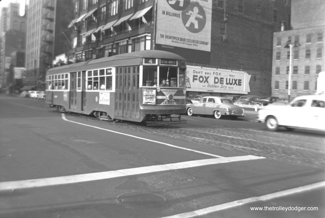 CTA Sedan 3337 is southbound on Wabash for route 4 - Cottage Grove in the early 1950s.