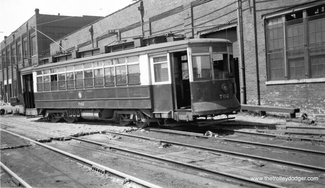 "CSL 702, shown here in 1951, was built by the Pressed Steel Car Company in 1909. The photo caption describes this as being the last car left in the 701-750 series. (C. Edward Hedstrom Photo) Andre Kristopans: ""750 is at South Shops, on what would be 78th St just east of Vincennes."""