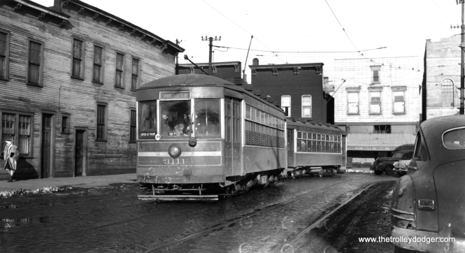 "Blue Island car 3111 on the 18th Street line, at about 1738 West. (Joe L. Diaz Collection) Andre Kristopans: ""3111 is on 18th Street WB, just west of Halsted where 18th had a major jog to the south. Leavitt/Blue Island was the west end of the 18th line."""