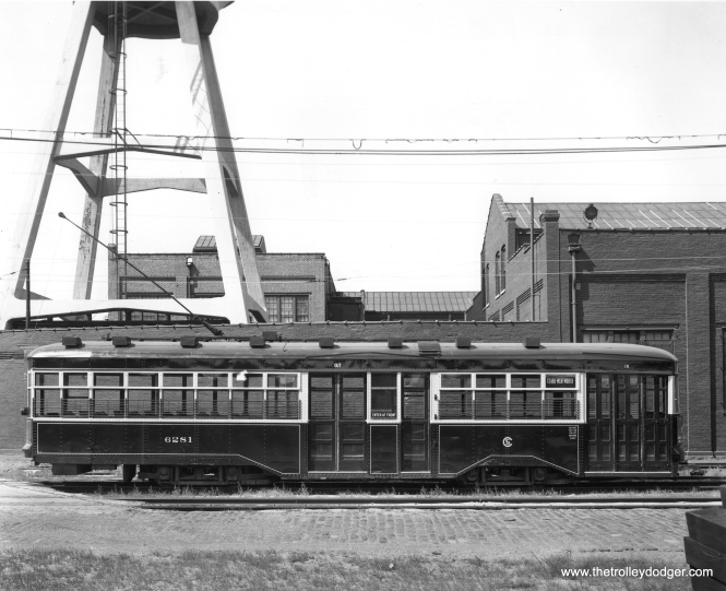 CSL Sedan 6281 at South Shops,probably when new (1929). (Chicago Surface Lines Photo)