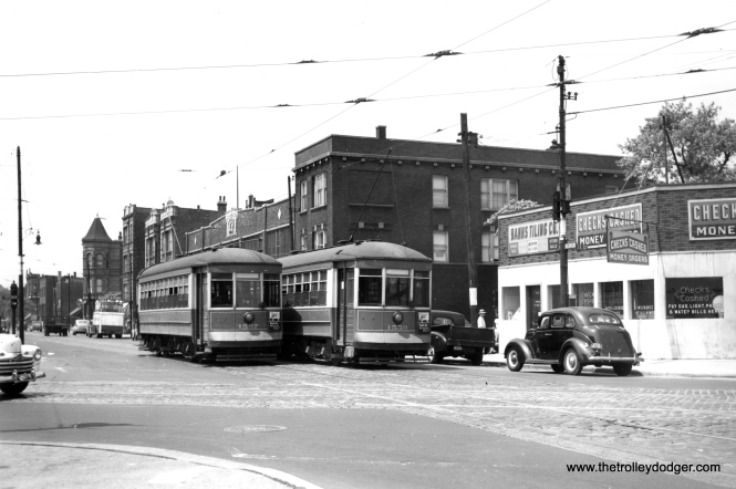 1537 and 1559 on the Taylor Street shuttle, after the mid-section of this line had been abandoned. (Joe L. Diaz Photo)