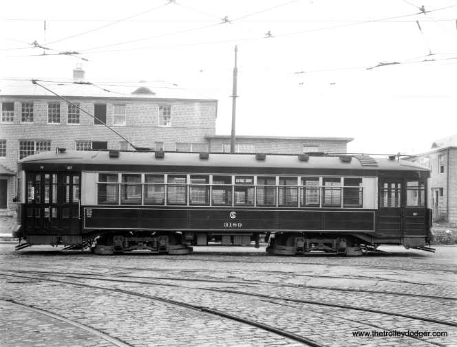 "CSL 3189 at Cottage Grove and 38th. This was known as a ""Sun Parlor"" car and was built by CSL in 1923."