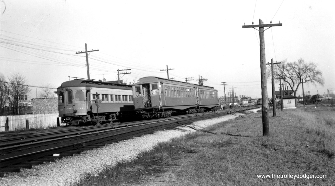 "CA&E 314 and CTA 2833 at Laramie on March 12, 1953. I'm not sure whether the 314 is on a storage track. The photographer notes, ""this section to be abandoned by CA&E."" The interurban cut back service to Forest Park that September 20th. I believe we are looking east. (Roy Bruce Photo)"