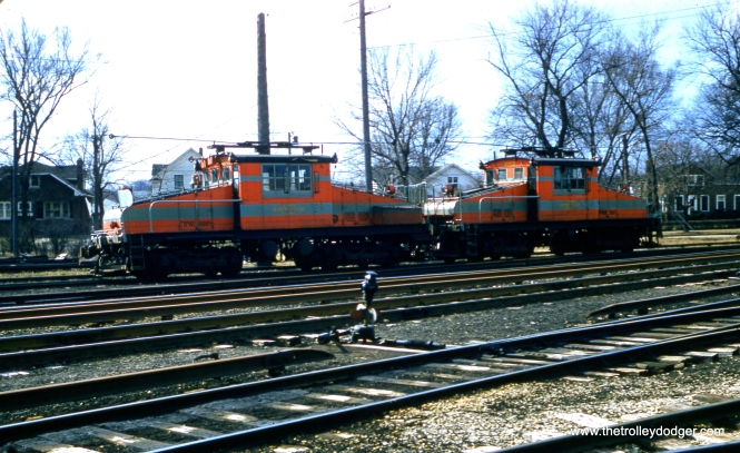 CA&E freight locos 2001 and 2002 at Wheaton on March 14, 1957.