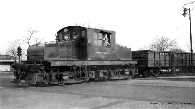 "In our post Trolley Dodger Mailbag, 10-18-2015, Mike Murray asked for pictures of the Commonwealth Edison third rail operation on Chicago's north side (not far from the former location of Hot Doug's). Well, we finally found one. Here is electric loco S-4 at California and Addison on January 9, 1949. According to Don's Rail Photos, ""4 was built in November 1911 by Alco, #50284, and General Electric, #3514. It was donated to Illinois (Electric) Railway Museum in 1962."""