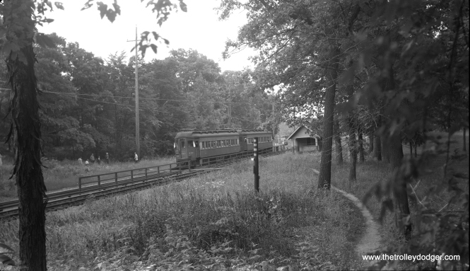 CA&E Pullmans 419 and 403 are taking a photo stop at Glen Oak on a July 4, 1956 CERA fantrip.
