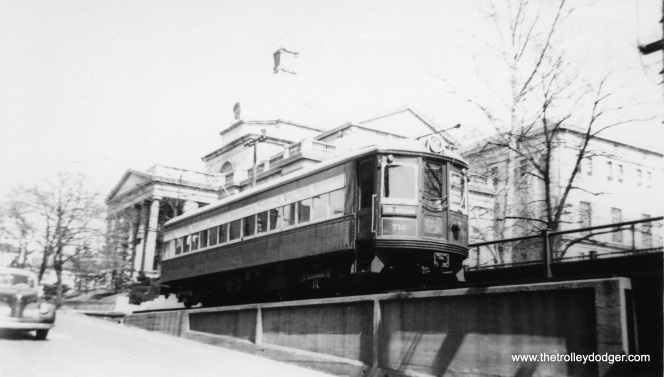 This is where the Lehigh Valley Transit's Liberty Bell Limited interurban cars went up a ramp to an elevated connection with the Philadelphia & Western in Norristown. This photo of car 710 is from 1944. The ramp, a few blocks long, was torn down in 1954. The interurban quit in 1951, which made it superfluous.
