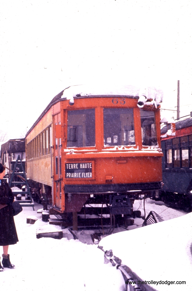Indiana Railroad lightweight high-speed interurban car 65 at IERM in February 1960.