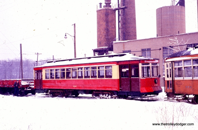 CTA Red Pullman 144 and Milwaukee streetcar 972 at the Illinois Electric Railway Museum in North Chicago, February 1960.