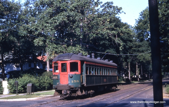 Perhaps one of our keen-eyed readers can tell us if this photo of car 158 was also taken along Greenleaf Avenue in Wilmette.