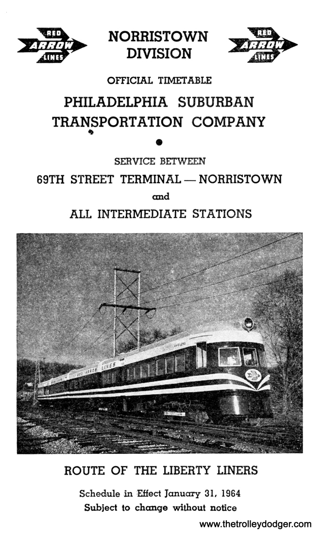 The two North Shore Line Electroliner sets had a second life for a while as Liberty Liners on the Red Arrow line between Philadelphia and Norristown. Red Arrow President Merritt H. Taylor Jr. (1922-2010) was a closet railfan, and the pride he took in saving these fine streamlined cars is clearly evident in the picture on this 1964 timetable, when they were put into service. This was a morale booster for both the railroad and its riders after enduring a 34-day strike in 1963, the only one in its history.