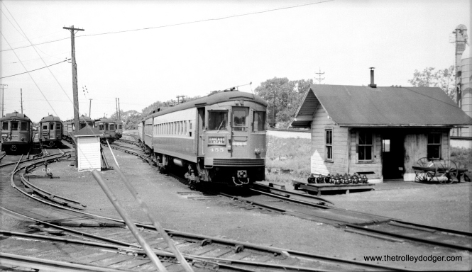 Curved-sided CA&E car 455, built by St. Louis Car Company in 1945, at Wheaton on July 7, 1954.