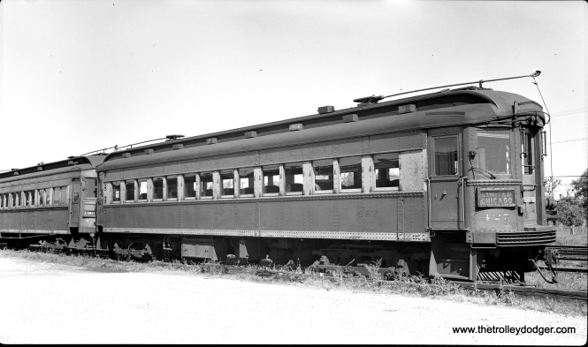 CA&E 427 parked at Laramie Avenue in August 1948. It was built by the Cincinnati Car Company in 1927.