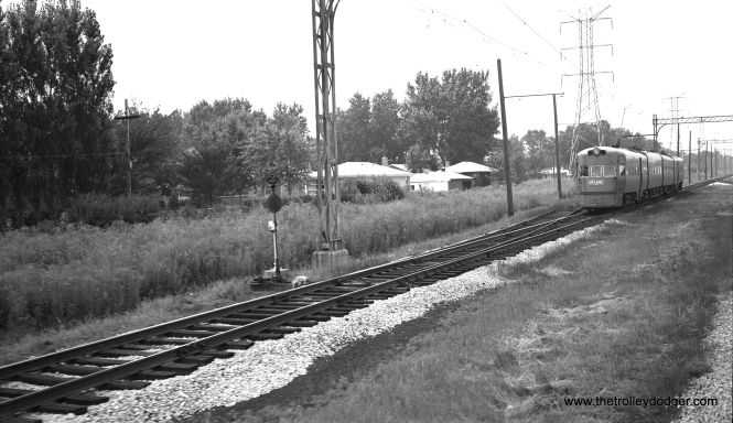 An Electroliner at speed near Carawford looking west. This picture was taken from a passing train in 1960, three years before the North Shore Line quit. CTA's Skokie Swift began running in 1964. (Richard H. Young Photo)