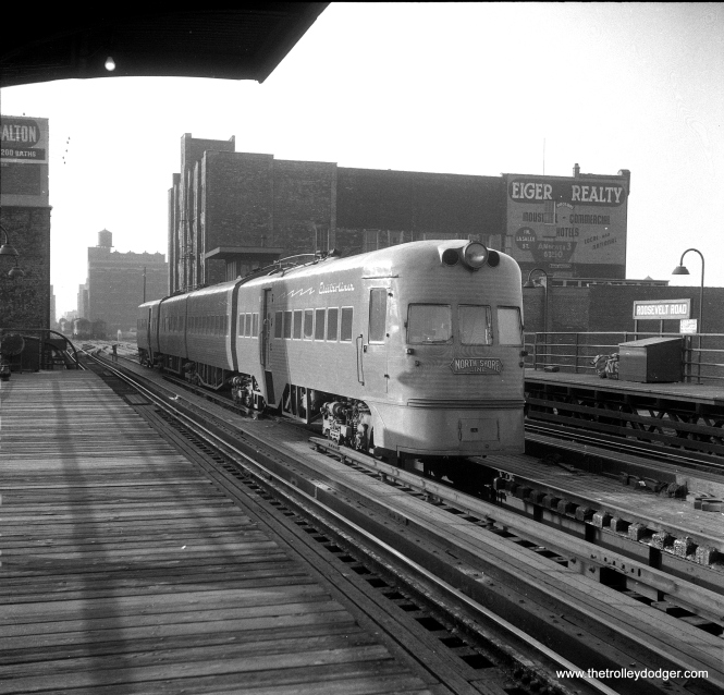 "Electroliner 804-803 at the CTA Roosevelt Road ""L"" station in Chicago on February 17, 1957."