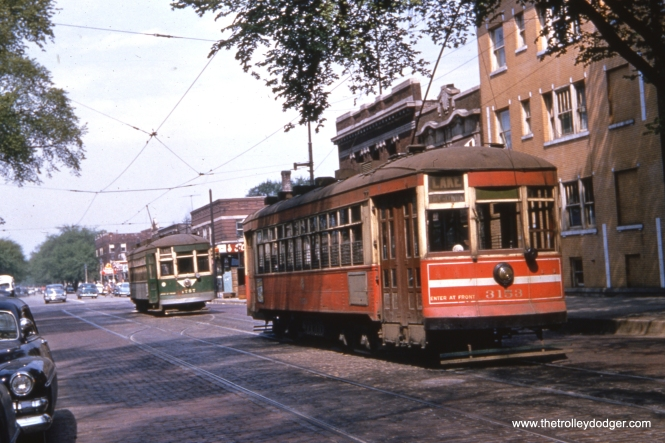 "CTA 3153 and 1772 at Lake and Austin, the west end of route 16, on May 15, 1954, same day as the famous ""Farewell to Red Cars"" fantrip run by Central Electric Railfans' Association."
