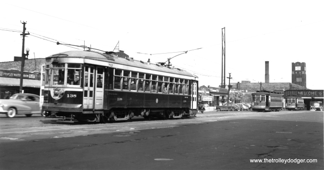 C&WT 138 at Cermak and Kenton in the 1940s. Here riders could transfer to the Chicago Surface Lines route 21 streetcar at right. (Joe L. Diaz Photo)
