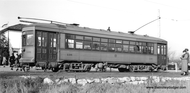 C&WT 138 at the Brookfield Zoo on July 22, 1938, on the busy LaGrange line. The zoo first opened in 1934. Within a year or two, all West Towns streetcars would be repainted blue. (John F. Bromley Collection)