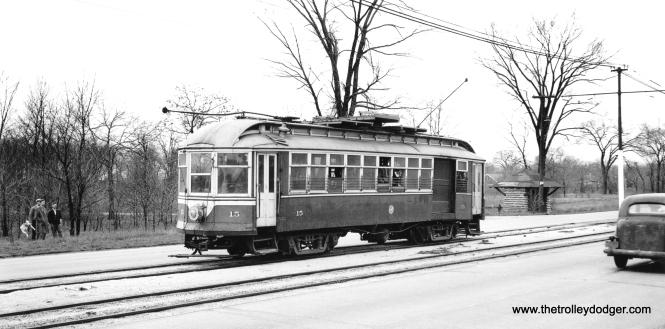 C&WT 15 on DesPlaines Avenue on April 11, 1948. The occasion was a Central Electric Railfans' Association fantrip, held the day after West Towns streetcar service came to an end. Note one of the distinctive C&WT shelters at rear. (John F. Bromley Collection)