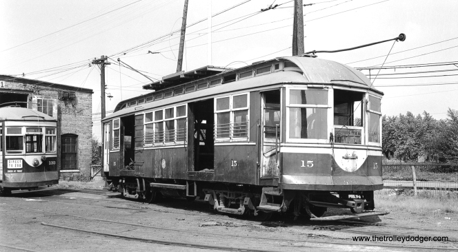 C&WT line car 15 at Harlem and Cermak on August 19, 1947. (John F. Bromley Collection)