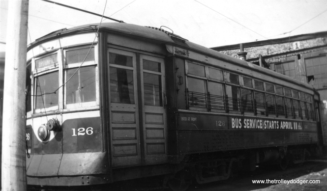 C&WT 126, with bus substitution notice, on April 4, 1948. (Photo by Mathews)