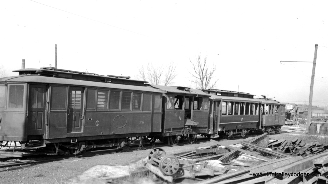 Chicago Surface Lines work cars P8, P251, P9 and S55 on the scrap line at South Shops, May 12, 1943.