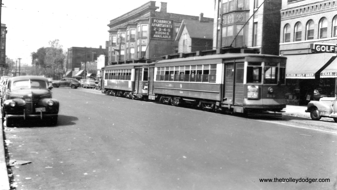 CTA 144 at, I believe, the east end of the 63rd Street line on 64th just west of Stony Island. The Charles J. Klees Golf Shop opened in 1910 across the street from the Jackson Park Golf Course and is still in business today at 10436 S. Western Avenue. Car 144 is preserved in operating condition at the Illinois Railway Museum. (Roy W. Bruce Photo)