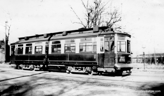 "Don's Rail Photos says CSL 2595 was ""built by St Louis Car Co in 1901."" The 2501-2625 cars are known as Robertson rebuilds. 2595 is shown on the Riverdale line on November 11, 1939."