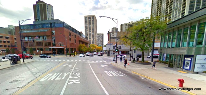 Clark Street at North Avenue today. We are looking south. A bank has replaced the Pixley's, and the Latin School of Chicago now occupies the location of the old Plaza Hotel.