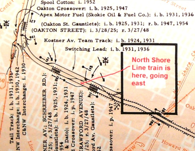Detail from an old CERA North Shore Line map, with the location of this photo indicated.