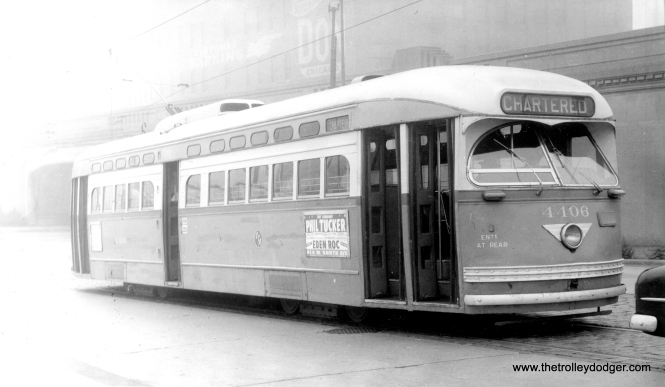 CTA 4406, a product of St. Louis Car Company, in charter service on Clark Street north of Cermak Road, October 21, 1956. This may or may not be the same photo we posted here, it's hard to tell. However, this was apparently a photo stop on a fantrip where the PCC followed red Pullman 225, and it's likely there were a bunch of people taking this same photo. (Roy W. Bruce Photo)