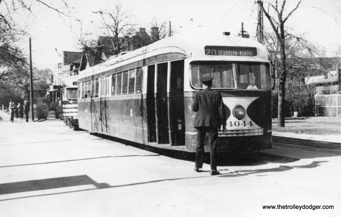 "CSL 4044 at Madison and Austin. The picture is dated 1941, but the ""tiger stripes"" on the car at rear would indicate it may be more like 1945-46."