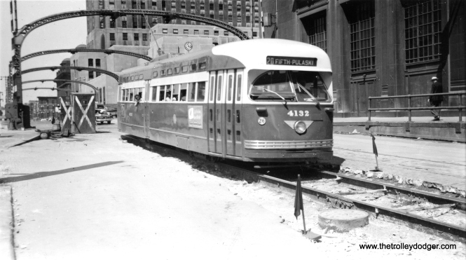 In this July 4, 1951 photo taken on Madison near Wacker, car 4132 is described as having a new paint job, the upper portion of which was different than any other car. There is a color picture of it in one of our previous posts.