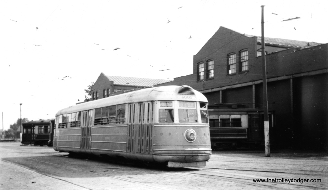 CSL's other experimental pre-PCC was streamlined car 4001, shown here at South Shops in 1936. Its colors are described as silver and blue. This car's aluminum body shell is preserved at the Illinois Railway Museum in Union.