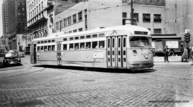 CTA 4071 at Madison and Franklin, circa 1952-53. (Roy W. Bruce Photo)