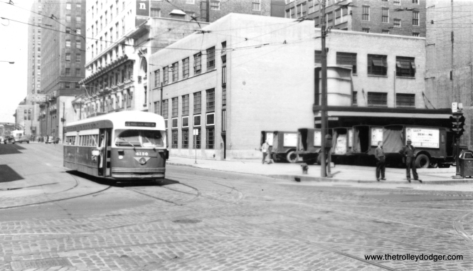 CTA 4120 eastbound at Madison and Franklin circa 1952-53. The newspaper trucks are advertising Lucille Ball and Desi Arnaz, then at the height of their popularity on I Love Lucy. (Roy W. Bruce Photo)