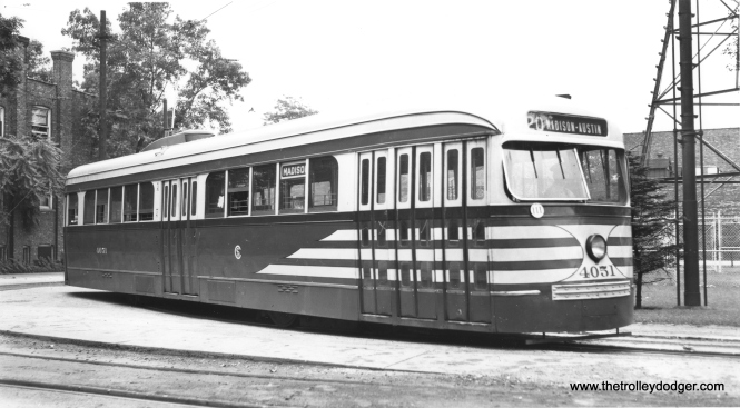CSL 4051 at Madison and Austin, always a favorite spot for photographers. This photo was probably taken circa 1945-46 and by this time, the car had been returned to its original door arrangement. (Joe L. Diaz Photo)