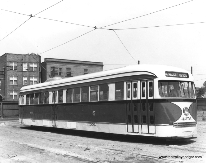 CSL 4051 is shown at Kedzie and Van Buren with an experimental door arrangement, which was tested on the busy Milwaukee Avenue car line. We ran another version of this same photo in a previous post, but this one has less cropping. (CSL Photo)
