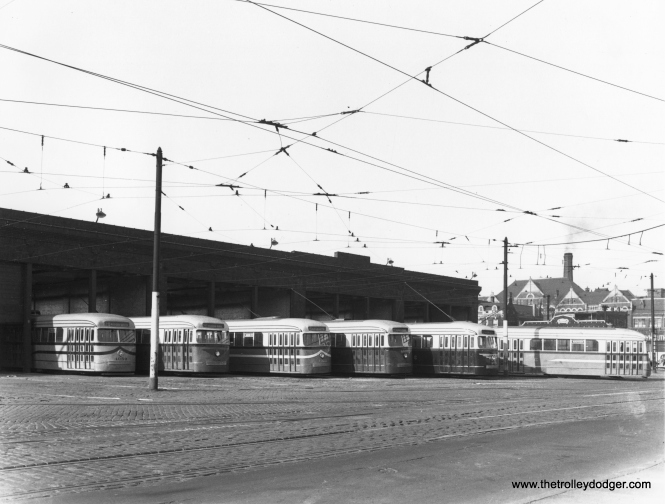 Again, the six experimental paint schemes at Kedzie and Van Buren in November 1945. The eventual choice for the new postwar PCCs was not exactly like any of these, but fairly close to one. (CSL Photo)