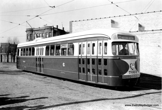 Brand-new PCC 7003 at Kedzie and Van Buren on November 23, 1936. (General Electric Photo)