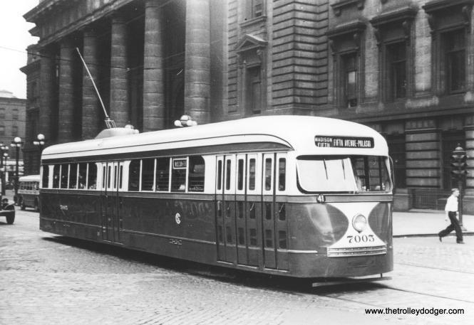CSL 7003 in front of the old Chicago & North Western station on Madison on July 25, 1939. In an earlier post, we have another picture of the same car at nearly the same location, taken around this time, but it has a different run number. (Charles A. Brown Photo)