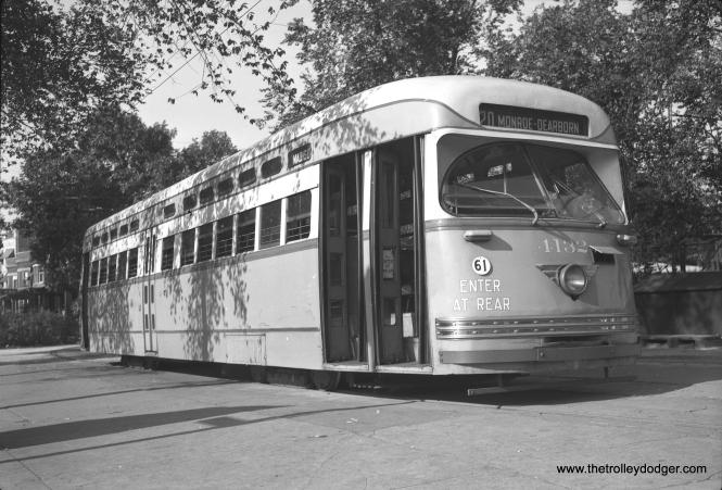 Pullman-built CTA 4132 at the Madison-Austin loop on July 6, 1949.