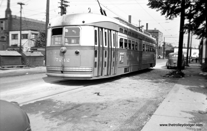 """George Trapp: """"CTA 7242 is on Schreiber just west of Clark laying over at the north end of Route 36."""""""