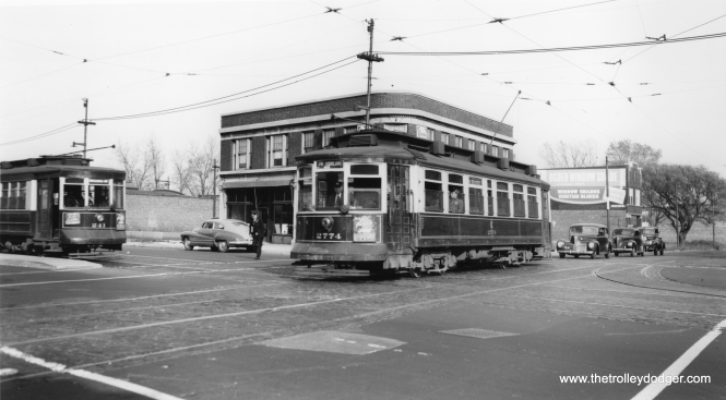 75th and Vincennes in the 1940s. At left, CSL 241 heads south on through route 22 - Clark-Wentworth, while 2774 heads west on the 74-75 route. (Joe L. Diaz Photo)