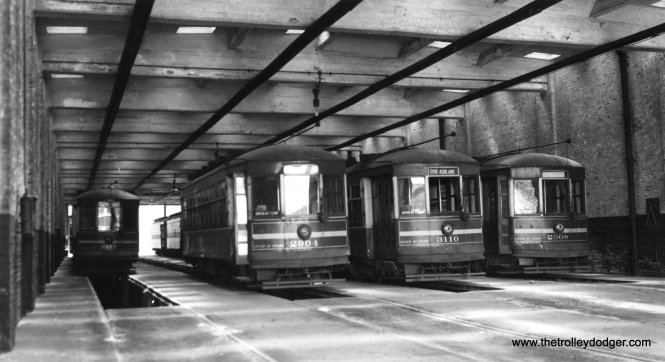 CSL 2904, 3110, and 2908 at the Blue Island Station (car house), showing its fireproof concrete and brick construction. (Joe L. Diaz Photo)
