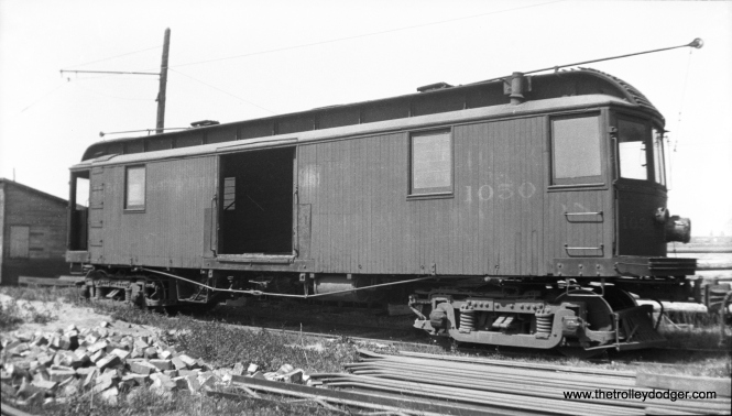 "CO&P express freight motor 1050 at the La Salle car barns in 1934. According to Don's Rail Photos, ""1050 was built by St. Louis in 1905 for the Illinois Traction. On September 11, 1928, it went to Ottawa, It appears that it was not relettered before retirement in 1934."""