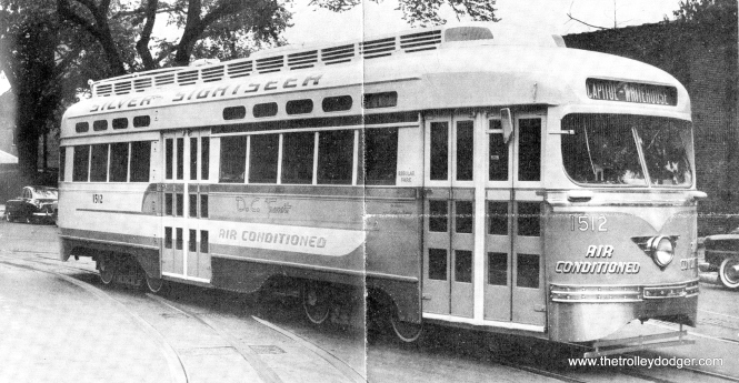 "Before Marvel Comics had a ""silver Surfer,"" DC Transit had their own superhero, the ""Silver Sightseer,"" the first air-conditioned streetcar. While 1512 managed to survive the 1962 shutdown, it was later damaged in a fire at the National Capital Trolley Museum and scrapped."