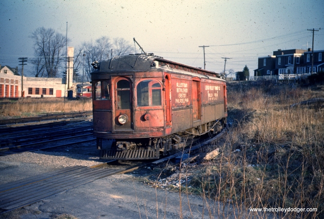 LVT express freight motor C-16 near 69th Street terminal in January 1951. Even though LVT stopped running passenger service over the Red Arrow in 1949, freight service continued over the line as it helped pay the bills.