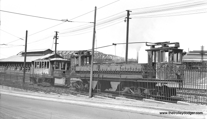 It's April 21, 1952, seven months after abandonment of the Liberty Bell interurban, and work cars #1 and 548 are in the scrap line at Bethlehem Steel on Daly Avenue. By this point, anything not needed for the city streetcars, which continued to run for another year, was being gotten rid of.