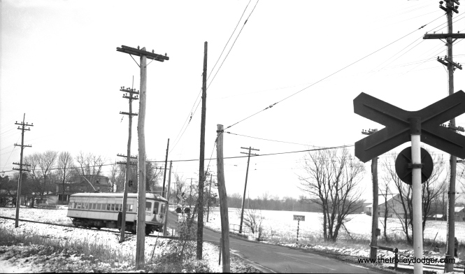 "LVT 702 is ""at speed"" southbound at West Point in this wintry February 11, 1951 view."